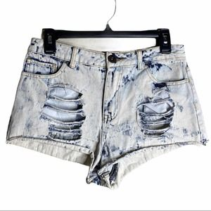 🍁 Forever21 High Rise Tie dye distressed Short 27